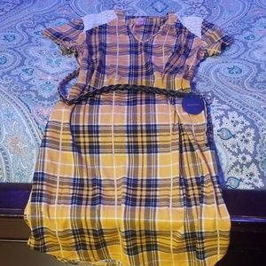Yellow plaid dress with brown belt
